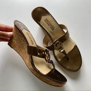 Michael Kors bronze tone wedge sandals